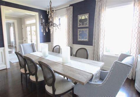 navy grasscloth dining room
