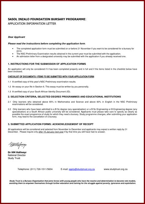 Bursary Application Letter Resume by Sle Application Letter Bank Branch Change