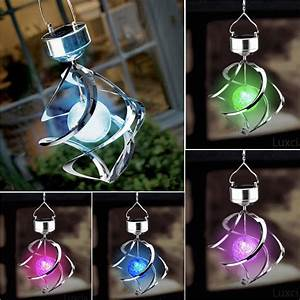 Solar powered led wind spinner light outdoor garden