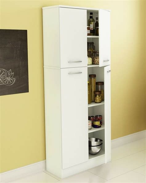 food pantry cabinet white doors tall storage kitchen organizer shelf cupboard ebay