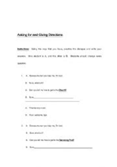worksheets giving directions dialogue