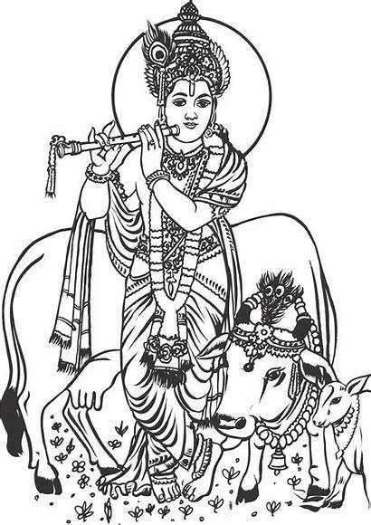 Krishna God Lord Clipart Vector Indian Radha