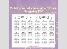 Bullet Journaling 2019 Year at a Glance Calendar Printable