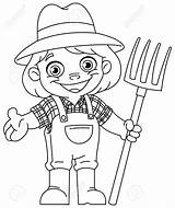 Pitchfork Coloring Farmer Outlined Holding Happy Vector Young Neo sketch template