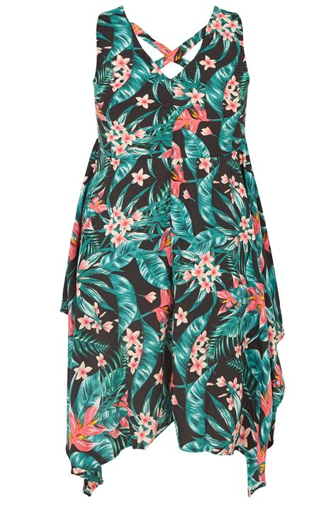floral cross forms black green tropical floral print sleeveless top with