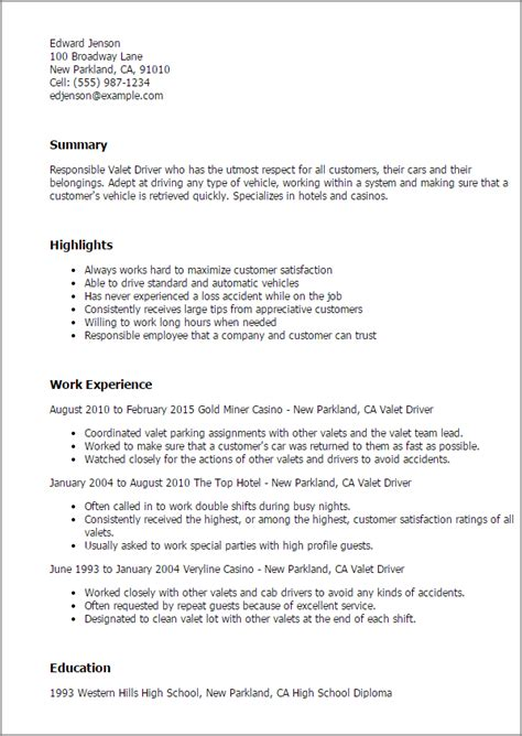 Valet Parking Manager Resume by Professional Valet Driver Templates To Showcase Your Talent Myperfectresume