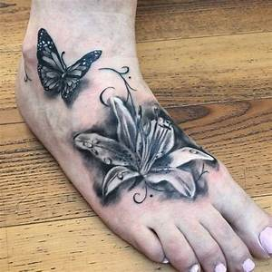 57+ Butterfly And Flower Tattoos On Foot