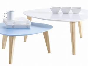 Table Basse Scandinave Bleu : lot de 2 tables basses stone blanc bleu 68736 ~ Teatrodelosmanantiales.com Idées de Décoration