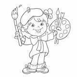 Coloring Outline Cartoon Artist Paints Easel Paint Painting Vector Boy Dreamstime Illustrations Vectors Clipart Illustration sketch template