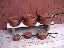 antique copper pots  legry set