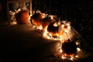 Outdoor, Fall, Decoration, Using, Pumpkins, Tulle, And, Christmas, Lights