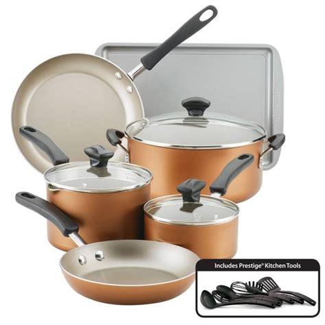 farberware  piece cookstart aluminum diamondmax nonstick cookware set copper  blain