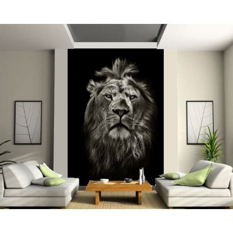 sticker mural geant portrait du lion art deco stickers