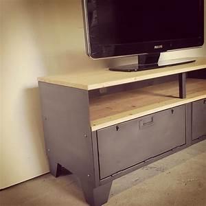 Meuble Tele Industriel : meuble tv m tal et bois 120cm industriel restaur ~ Teatrodelosmanantiales.com Idées de Décoration