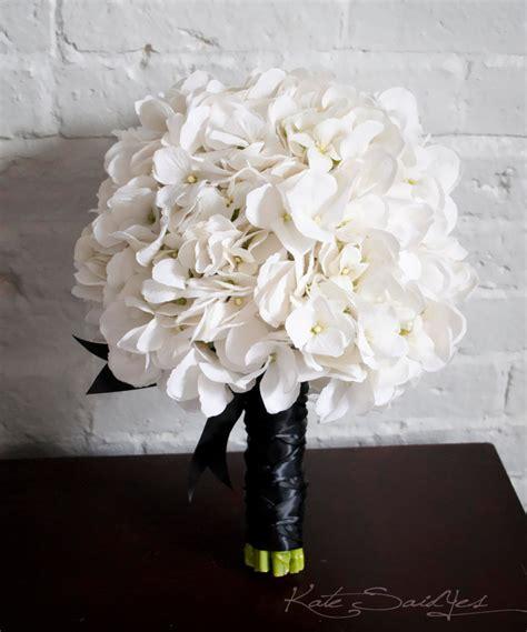 White Hydrangea Wedding Bouquet White And Black Hydrangea