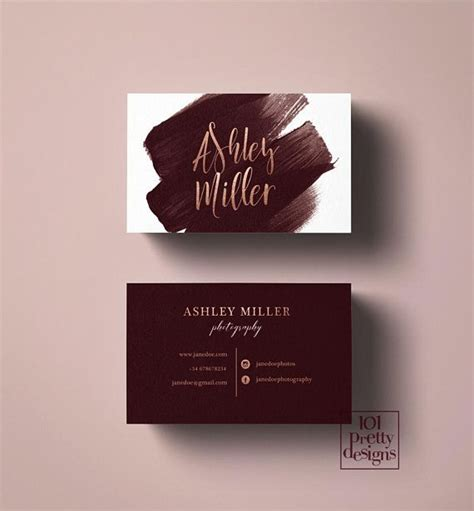 watercolor business card burgundy rose gold business card
