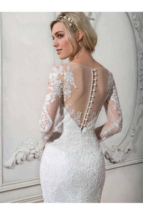 Long Sleeves Mermaid Illusion Neckline Lace Wedding ...