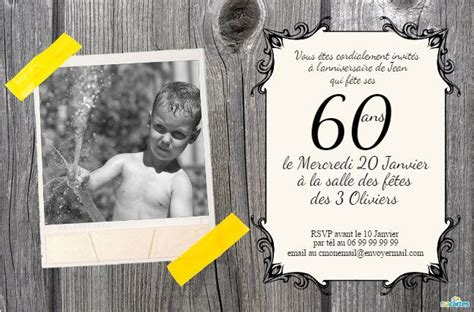 Carte Invitation Gratuite A Imprimer 60 Ans