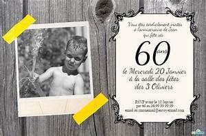 Faire Part Anniversaire 60 Ans : carte invitation gratuite a imprimer 60 ans 60 ans cartes et invitations gratuites 123 ~ Melissatoandfro.com Idées de Décoration