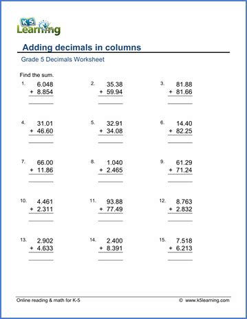 grade 5 math worksheets adding decimals in columns k5 learning