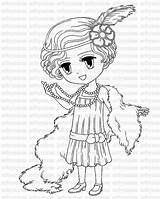 Coloring Flapper 1920s 1920 Digital Pages Stamp Brittany Drawing Printable Colour Colouring Stamps Getcolorings Digi Getdrawings Meets Line Card Sold sketch template