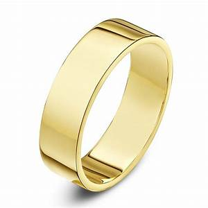 9kt yellow gold heavy flat 5mm wedding ring With flat wedding rings