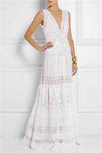 roberto cavalli broderie anglaise cotton maxi dress in With robe coton longue