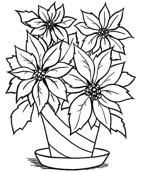 Blooming Flower in the Vase Coloring Page NetArt
