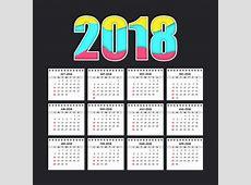 Calendário simples para 2018 Baixar vetores grátis