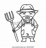 Farmer Drawing Pitchfork Coloring Vector Linear Shutterstock Cartoon Outline Indian Angry Every sketch template