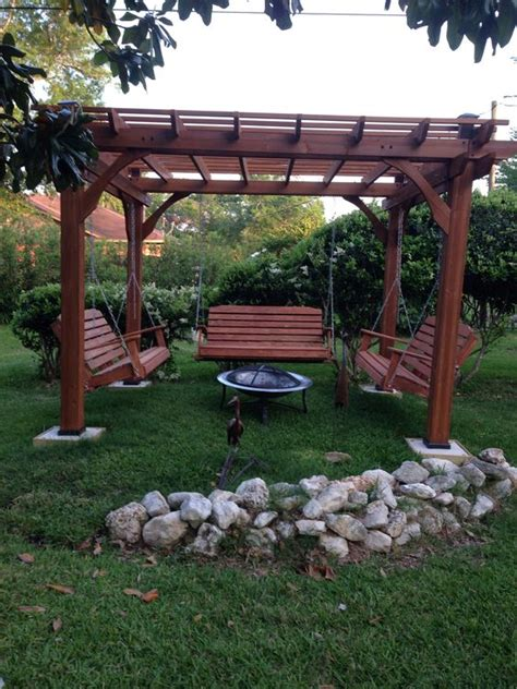 fabulous pergola with swing and pit garden landscape