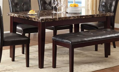 Homelegance Teague Faux Marble Dining Table   Espresso 2544 64 at Homelement.com