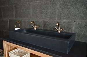 Double Vasque Noir : double vasque en pierre de basalte noire 100x46 looan dark ~ Teatrodelosmanantiales.com Idées de Décoration