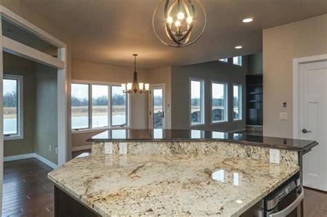 sienna beige granite  island transitional kitchen