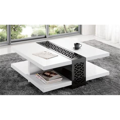 Table Basse Carree Noir Laque