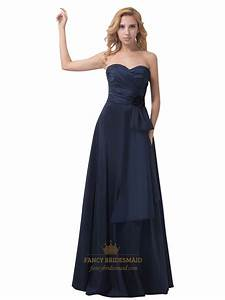 Navy Blue Strapless Sweetheart Flower Detail Bridesmaid ...