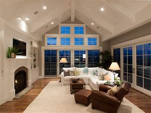 cathedral ceiling windows family room traditional with