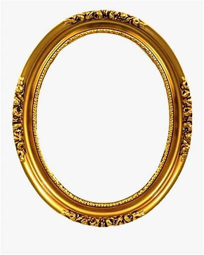 Oval Frame Frames Golden Transparent Clipart Emas