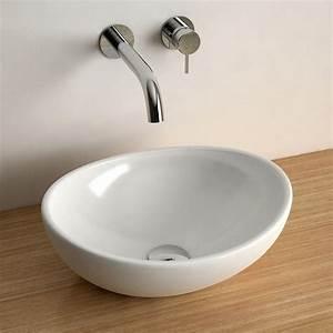 vasque a poser ovale 40x33 cm ceramique aoki With salle de bain design avec vasque a poser ronde blanche