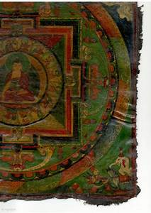 Old, Tibetan, Painting, Removed, From, The, Wooden, Panel, Of, A