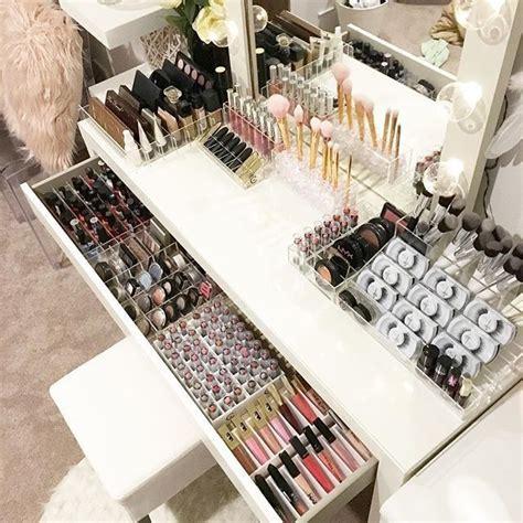 creative ways  organize vanity table makeup rooms