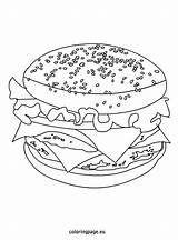 Coloring Cheeseburger Cheese Eu Fast Mac Foods Coloringpage sketch template