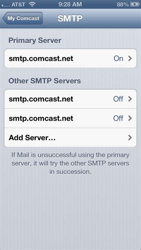 comcast email on iphone screenshots of iphone 5 mail settings comcast help and