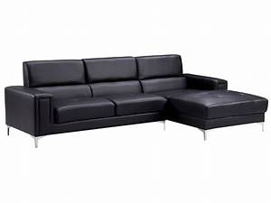 canape cuir reconstitue pvc quotelianaquot 4 places noir With canape angle droit cuir noir