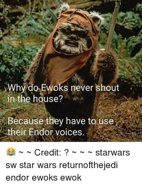 Ewok Meme - why do ewoks never shout in the house because they have to use m their endor voices