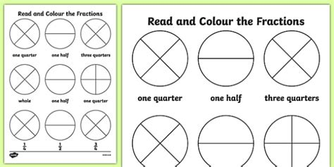 Year 1 Read And Colour A Fraction Worksheet  Activity Sheet