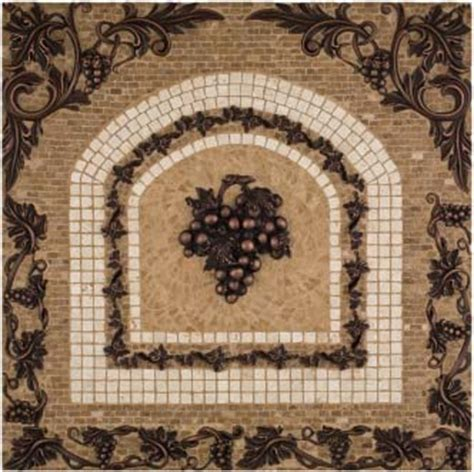metal grape mosaic mural backsplash medallion