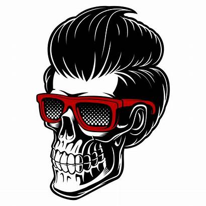 Skull Barber Hair Vector Glasses Beard Designs