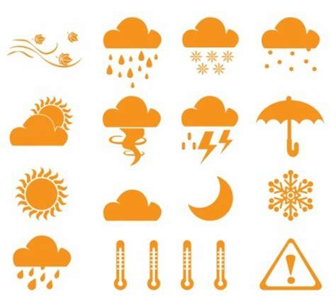 Simbol matahari, bulan, hujan, awan, meteor, payung, air panas, salju, es kristal. Ikon Cuaca-vektor Icon-vektor Gratis Download Gratis