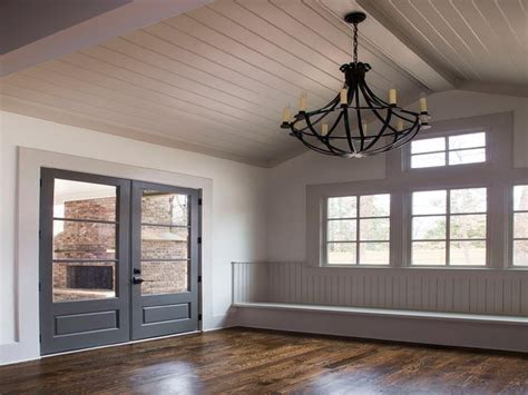 Gray Shiplap Vaulted Ceiling Over Mudroom Bench Cottage